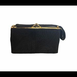 Black & Gold Hard Bottom Embroidered Style Clutch